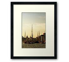 Boats on Thames River at Sunset, London, England Framed Print