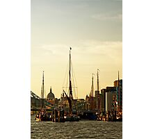 Boats on Thames River at Sunset, London, England Photographic Print