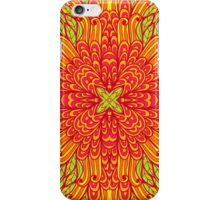 Orange and green hand drawn floral ornament iPhone Case/Skin
