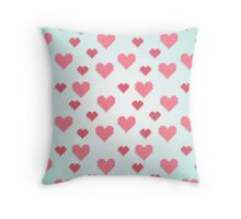 Abstract 8-bit pink and blue heart pattern Throw Pillow