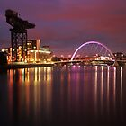 City Lights - Clyde Arc and the Finnieston Crane by Paul Cook