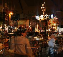 Night reflection in Brussels Cafe by Antanas