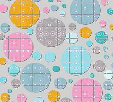 Colorful Circles Squared Pattern by Betsy Bush