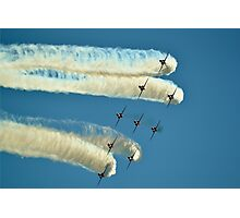 Red Arrows trailing smoke across the sky Photographic Print