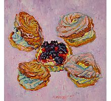 Cream puff pastries and fruit tart Photographic Print