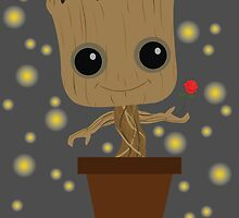 Groot with Rose/Fireflies by Ztw1217