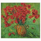 Jug with red poppies in green grass by Vitali Komarov