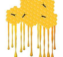 Honey bee hive with honey drip by rubina