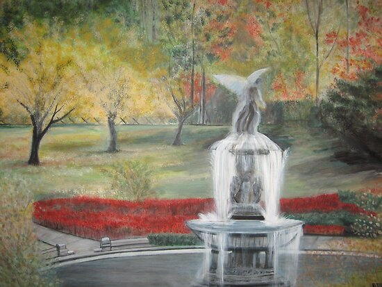 Central Park in  Fall  at the Bethesda  Fountain      ( My Paintings ) by Rick  Todaro