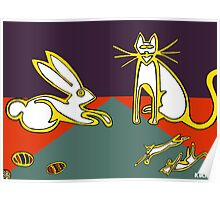 rabbit and cat family Poster