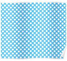 Light blue Turquoise white polka dots pattern Poster