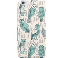 Parliament of Owls - Pale Turquoise by Andrea Lauren iPhone Case/Skin