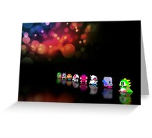 Bubble Bobble retro gaming pixel art Greeting Card