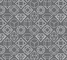 Diamond Gem Shape Outline GREY by ISLWMP