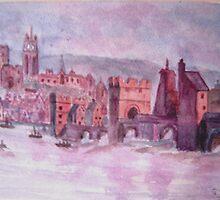 The old Tyne Bridge Circa 1730 by GEORGE SANDERSON