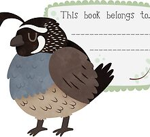 California Quail Book Plate by Claire Stamper