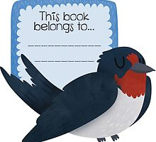 Barn Swallow Book Plate by Claire Stamper