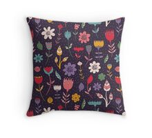 Colorful Abstract Floral Pattern Throw Pillow