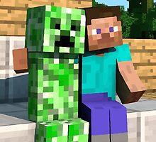 Steve and Creeper - Minecraft by janeemanoo