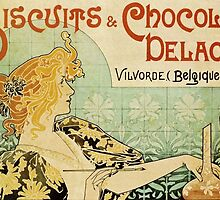'Biscuits and Chocolat Delacre' by Privat Livemont (Reproduction) by Roz Abellera Art