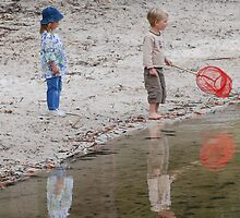 Kids playing at the Lake  by Michelle *