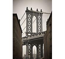 Empire State Building through arch of Manhattan Bridge Photographic Print
