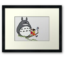Totoro, Satsuki, Mei, and Others Framed Print
