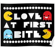 """Love Bites"" Ms. PacMan & PacMan Couple Love Romance Cute Kawaii Chibi Poster"