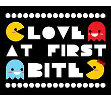 """Love Bites"" Ms. PacMan & PacMan Couple Love Romance Cute Kawaii Chibi Photographic Print"