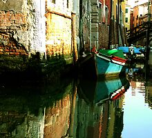 Reflection of the Wooden Boat by Donna Corless
