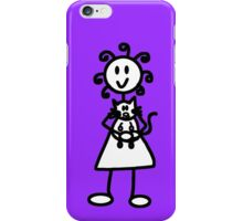 The Girl with the Curly Hair Holding Cat - Purple iPhone Case/Skin