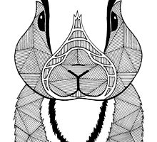 Rabbit black and white by artetbe