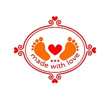 Made with love, baby feet with heart Photographic Print