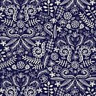 Chalkboard Floral Doodle Pattern in Navy & Cream by micklyn