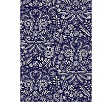 Chalkboard Floral Doodle Pattern in Navy & Cream Photographic Print