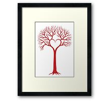 red love tree with heart branches Framed Print