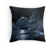 Ghost ship series: Full moon rising Throw Pillow