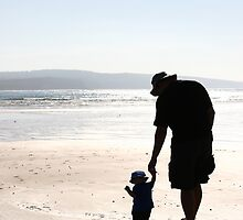 Silhouette of Father and Son by Karin Knapp