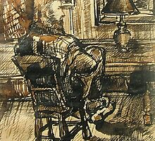 Van Gogh visits Brooklyn-Pen and Ink, wash by Barbara Sparhawk