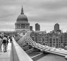 St Paul's Cathedral & Millennium Bridge BW by Karen Martin