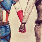 Stucky ~ Captain America and Bucky Barnes Holding Hands  by booklils