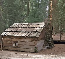 Stylized photo of an old cabin in Sequoia National Park by NaturaLight