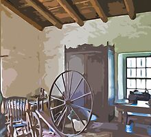 Stylized photo of sewing room in the adobe mansion La Casa de Estudillo in Old Town San Diego. by NaturaLight