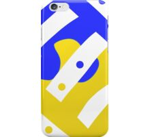 Blue, yellow, black and white, modern,  ABSTRACT iPhone Case/Skin