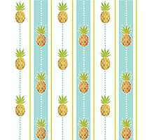 Glitter Tropical Pineapple with Stripes and Dots Photographic Print