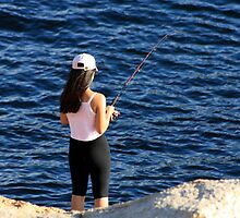Asian Girl Fishing by HALIFAXPHOTO
