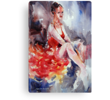 Ballet Dancer in Red Dress - Dance Art Gallery Canvas Print