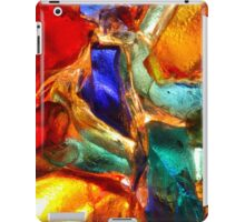 Closeup of back lit stained abstract glass pattern iPad Case/Skin