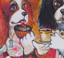 Cavalier king charles tea party Sticker