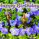 Purple Garden - Happy Birthday by Donna Grayson